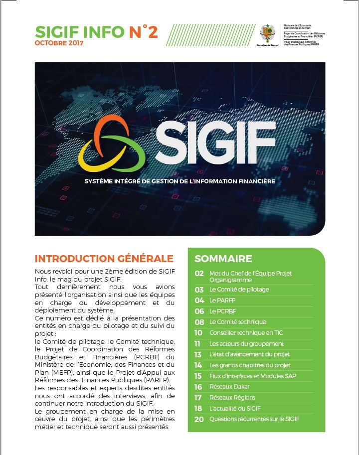 SIGIF INFO N°2 – 4ieme trimestre 2017